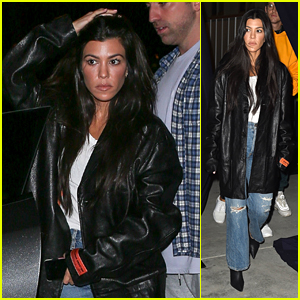 Kourtney Kardashian Looks Cool in a Leather Jacket at Church!