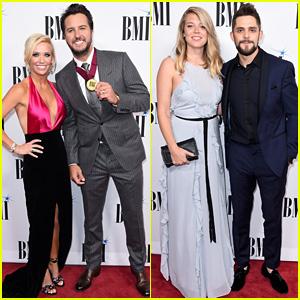 Luke Bryan & Thomas Rhett Pose with Their Wives at BMI Country Awards