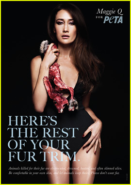 Maggie Q Holds a Skinned 'Rabbit' for Anti-Fur PETA Ad