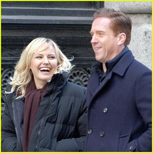 Malin Akerman & Damian Lewis Bundle Up on Set of 'Billions'