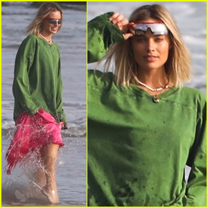 Margot Robbie Poses for a Photo Shoot on the Beach in Malibu