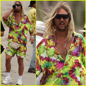 Matthew McConaughey Rocks Tie-Dye, Chugs Red Wine on 'Beach Bum' Set
