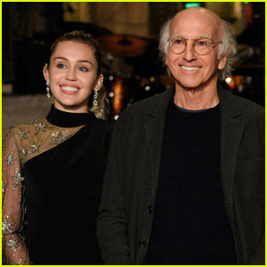Miley Cyrus Tries to Get Larry David Pumped For 'SNL' - Watch Now!