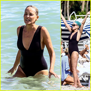 Sharon Stone in Bikini Top with her boyfriend at the beach in Miami Pic 30 of 35