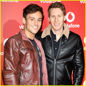 Tom Daley & Dustin Lance Black Couple Up for Vodafone Event After Halloween Party!