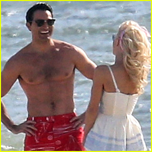 Tyler Hoechlin & Julianne Hough Flaunt Cute PDA at the Beach for 'Bigger' Scene
