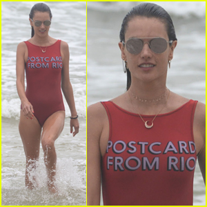 Alessandra Ambrosio Splashes Around in the Ocean in Brazil!