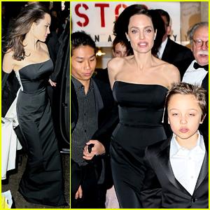 Angelina Jolie & Her Kids Get Dressed Up for Black Tie Event!