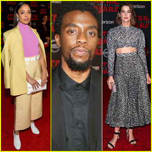 Chadwick Boseman Joins Tessa Thompson & Cobie Smulders at 'Last Jedi' Premiere