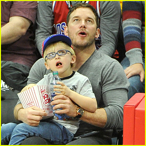 Chris Pratt & Son Jack Sit Courtside at the Clippers Game!