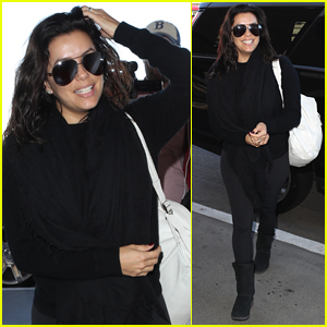 Eva Longoria Goes Makeup-Free For Her Flight Out of Town