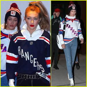 Gigi & Bella Hadid Head to a Rangers Hockey Game in NYC!