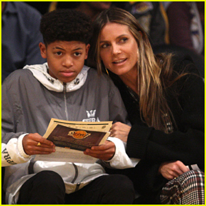 Heidi Klum & Son Henry Sit Courtside at the Lakers Game!