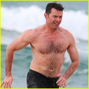 Hugh Jackman Goes Shirtless at the Beach with His Hot Trainer!
