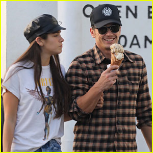 James Franco & His Girlfriend Share a Kiss & Ice Cream!