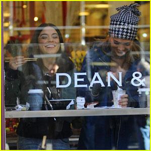 Jennifer Lopez & Vanessa Hudgens Share a Laugh at NYC Cafe