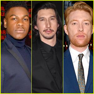 John Boyega, Adam Driver, & Domhnall Gleeson Suit Up for 'Last Jedi' Premiere