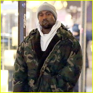 Kanye West Wears a Camouflage Coat While Working in Milan!