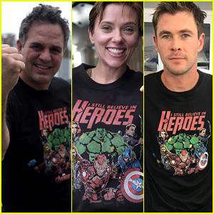 Mark Ruffalo, Scarlett Johansson, & Chris Hemsworth Debut New Avengers Shirts for Charity