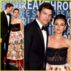 Mila Kunis & Ashton Kutcher Make an Adorable Couple on the Red Carpet at Breakthrough Prize Ceremony 2018!
