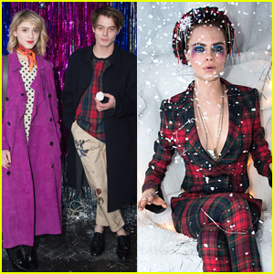 Natalia Dyer & Charlie Heaton Couple Up for Cara Delevingne's Holiday Party