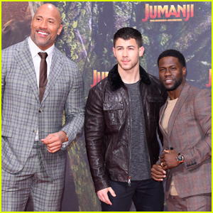 Nick Jonas, Dwayne Johnson & Kevin Hart Continue 'Jumanji' Press Tour in Germany!