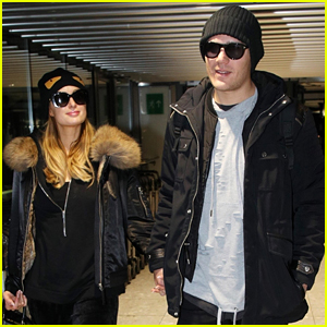 Paris Hilton & Chris Zylka Fly Out of London with Lots of Luggage