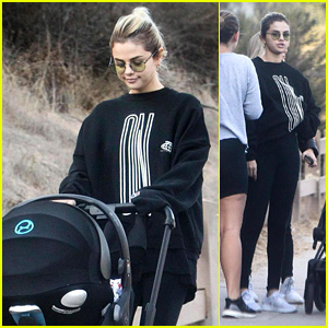 Selena Gomez Pushes Her Friend's Baby Stroller While on a Hike Following Her Mom's Hospitalization