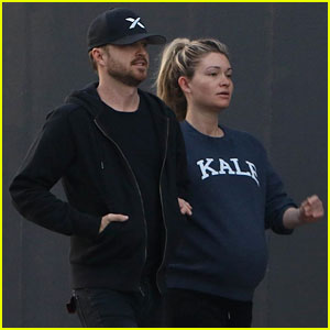 Aaron Paul & Pregnant Lauren Parsekian Step Out After He Says She's 'Due Any Minute'