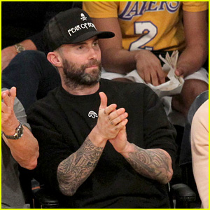 Adam Levine Watches the Lakers Win in Los Angeles