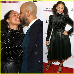 Alicia Keys & Swizz Beatz Share a Sweet Moment at Pre-Grammys Party