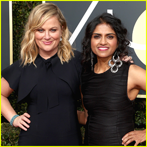 Amy Poehler Walks Golden Globes 2018 Red Carpet with Activist Saru Jayaraman