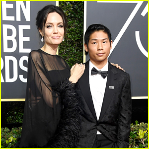 Angelina Jolie's Son Pax Wears 'Time's Up' Pin at Golden Globes 2018