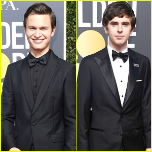 Ansel Elgort & Freddie Highmore Both Wear Bow Ties For Golden Globes 2018