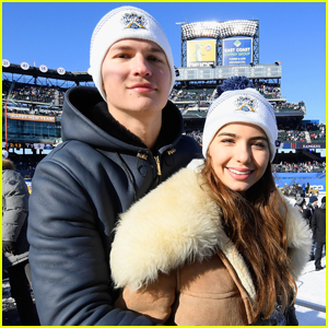 Ansel Elgort & Violetta Komyshan Couple Up For NHL Winter Classic!
