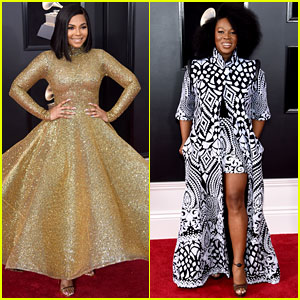 Ashanti Sparkles in Wavy Gold Dress at the Grammys 2018