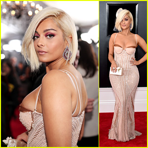 Bebe Rexha Looks Beautiful in a Beaded Gown at Grammys 2018