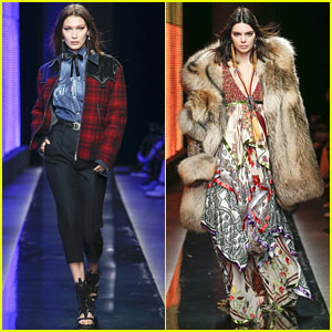Bella Hadid & Kendall Jenner Hit Milan Fashion Week Runway For Dsquared2