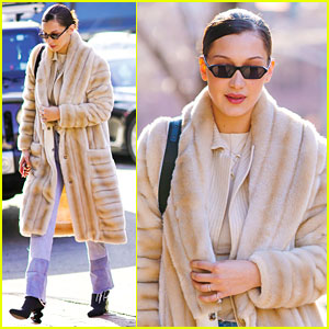Bella Hadid Rocks Furry Beige Coat for Brunch in the Big Apple