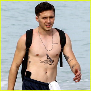 Brooklyn Beckham Goes Shirtless in Miami, Shows Off New Tattoos!