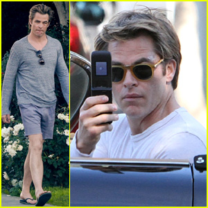Chris Pine Uses a Flip Phone While Running Errands