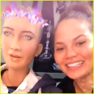 Chrissy Teigen Totally Lost Her Cool Meeting Sophia the Robot!
