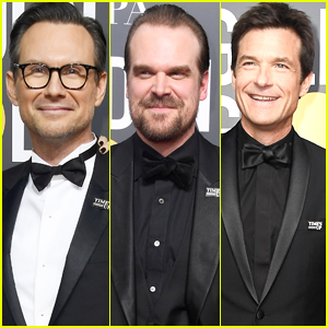 Christian Slater, David Harbour, & Jason Bateman Wear Time's Up Pins at Golden Globes 2018