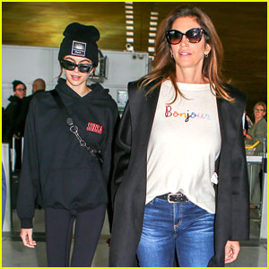 Cindy Crawford & Daughter Kaia Gerber Touch Down in Paris