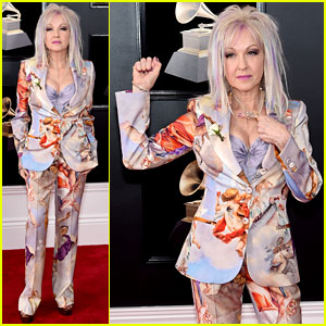 Cyndi Lauper Sports Pastel Hair Streaks & Cupid-Inspired Suit at Grammys 2018