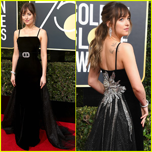 Dakota Johnson Wears Stunning Black Gown at Golden Globes 2018