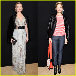 Diane Kruger & Marion Cotillard Step Out for Giorgio Armani Paris Show