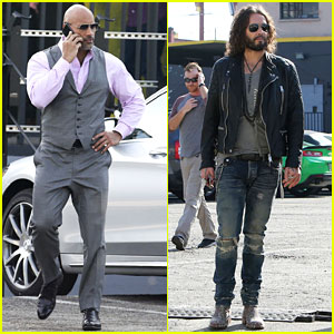 Dwayne Johnson & Russell Brand Hang Out on 'Ballers' Set