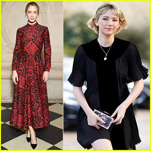 Girl On the Train's Emily Blunt & Haley Bennett Reunite at Dior Show in Paris!