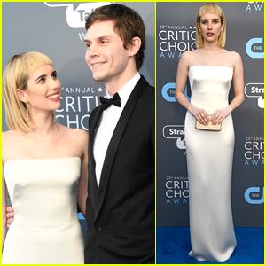 Emma Roberts Debuts New Haircut, Joins Evan Peters at Critics' Choice Awards 2018